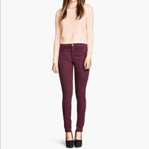 H&M burgundy skinny jeans